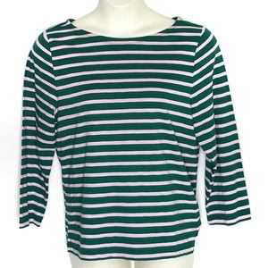 J Crew Sailor Stripe Boatneck Tshirt XL Pink Green
